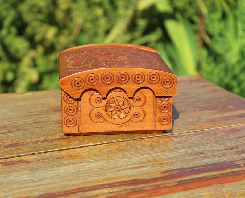 Vintage carved jewelry box wooden treasure box vintage wood box rustic style box antique trinket box wooden carved box home decor hand made