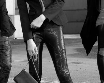 Leather leggings with sequins, Stretchleder