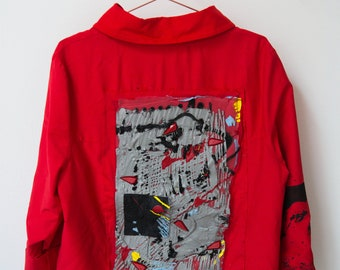 Handmade jacket with artwork on the back