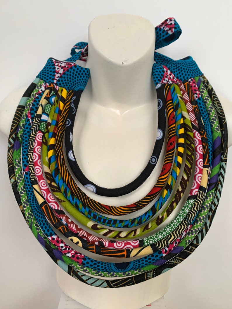 African Wax Traditional Fabric Cord Necklace