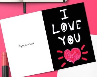 Editable Love Greeting Cards Card For Boyfriend Birthday Gift Girlfriend Anniversary 1st