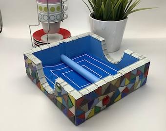Rainbow and white glass mosaic napkin holder