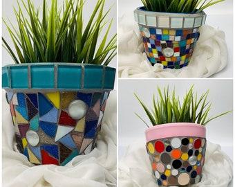 Multicolour geometric mosaic handpainted small pot