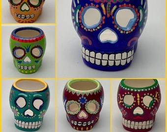 Hand painted ceramic sugar skulls tea light holder