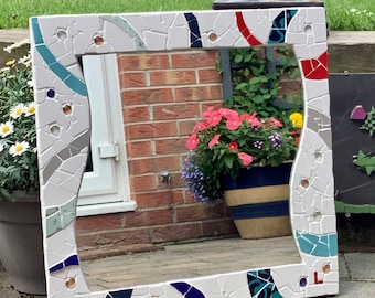 White, blue and red wavy mosaic mirror