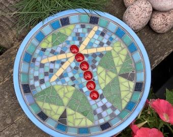 Dragonfly Mosaic Terracotta Birdbath