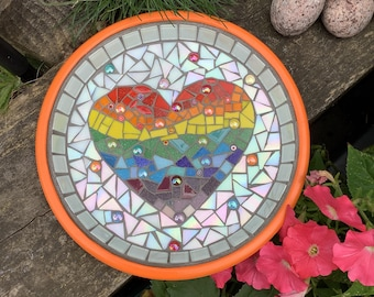 Multicolor heart Mosaic Terracotta Birdbath