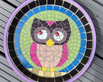 Owl Mosaic Terracotta Birdbath