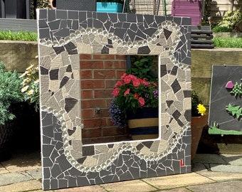 Grey square wavy mosaic mirror