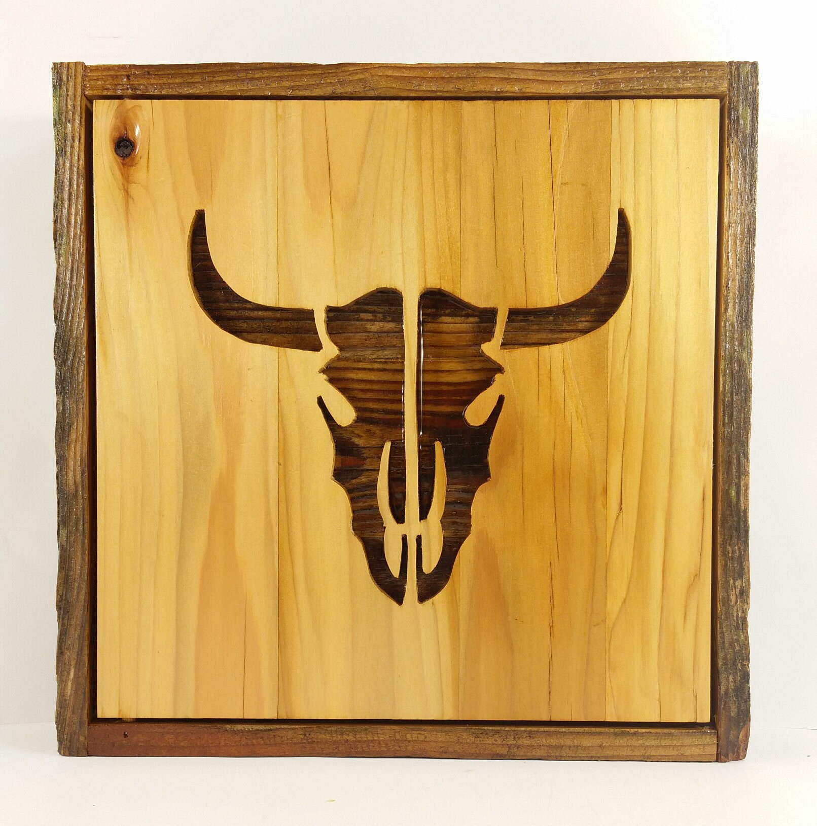 Hidden Gun Box Rough Cedar Steer Skull Reclaimed Wood Art   Etsy