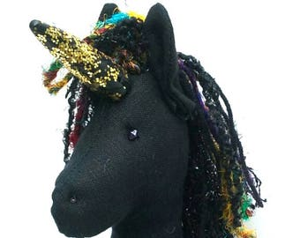 Large Unicorn, Stuffed Unicorn, Black Unicorn Doll, Unicorn Gift, Unicorn Sculpture, Handmade horse doll, Folk Art doll, Patronus