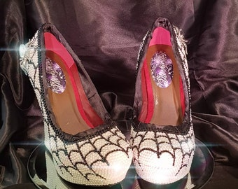 3bed39eb96aa Handmade fully crystallized white auroera borealis high wedges with crystal  spiders and web