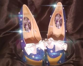 Handmade fully crystallized polka dot rockabilly bow heels