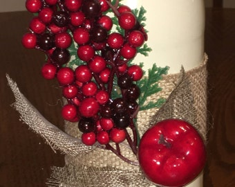 Berries & Apple Decorated Wine Bottle
