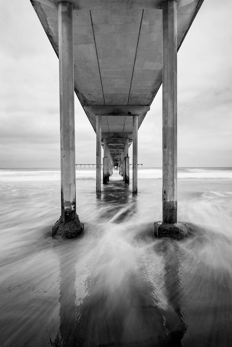 Ob pier black and white photography san diego coastal ca beach wall art