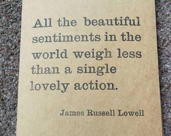 lovely action - letterpress wisdom