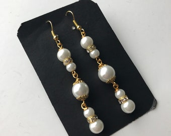 White Pearl Bead Dangle Earrings, White Bead earrings, white dangle earrings, white earrings, bridal earrings, long white earrings