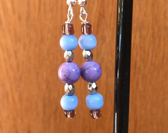 Blue, Purple, and Silver Drop Earrings, Blue Purple Silver Beaded Drop Earrings, Blue Silver Purple Earrings, Purple Blue Earrings