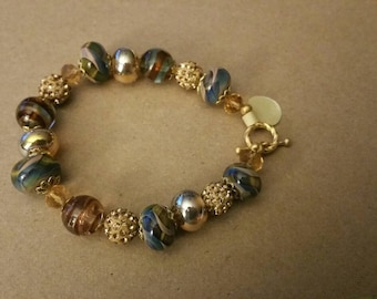 Handmade lamp work beaded bracelet with Swarovski  (65)