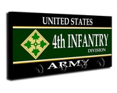 US Army 4th Infantry Division Key Ring Hanger Key Rack US Army Vet Gifts US Army Gift Military Veteran Gifts United States Army Gift