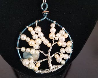 Pearl and Moon Tree of Life Circular Pendant Necklace