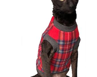 Kotomoda CAT WEAR Sweater Plaid red fleece