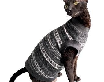 Kotomoda CAT WEAR winter sweater Grey patterns