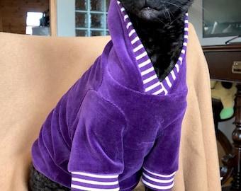 Kotomoda CAT WEAR cotton velour Purple hoodie