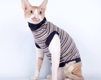 Kotomoda CAT WEAR Turtleneck Striped cat
