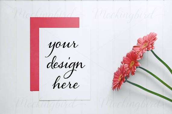 Card Mockup A5 Or A6 Vertical Stationery Mockup Red Flowers White On Wood Card Png Jpeg Psd Smart Object Valentines Birthday Invitation