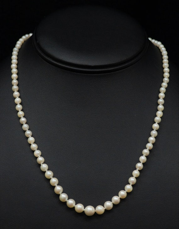 Graduated Cultured Pearl Necklace 17 12-14k White Gold Knotted Strand