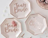 Rose Gold Team Bride Plates 8 Paper Party Plates Rose Gold Hen Party Decorations