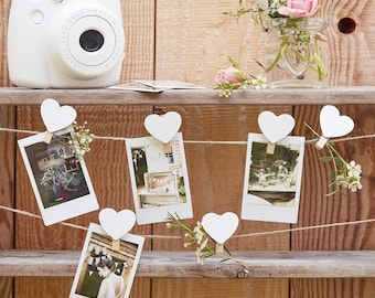 Wooden heart pegs an string set   Rustic Country  Wedding Reception  Decorations    Wedding decoration   photo boot   wedding ideas 66fb0ca0a382