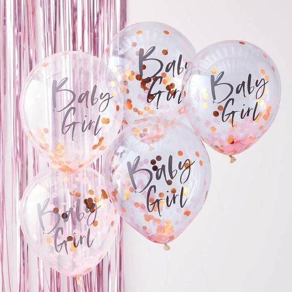 Pack of 12 | Girl Baby Shower Balloons. Rose Gold 16 OH Baby Balloon Letters Pink, Confetti, White Baby Shower Decorations for Girl