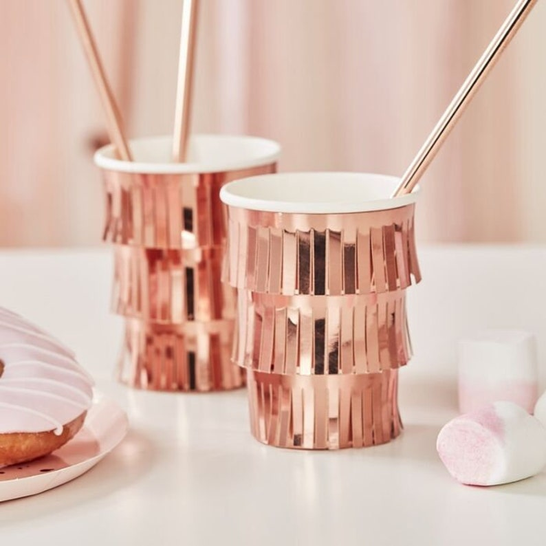 Graduation Party Cups Rose Gold Party Cups 8 Fringe Rose Gold Paper Cups Rose Gold Birthday Party Cups Bridal Shower Paper Cups