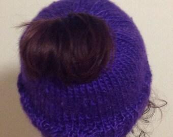 Vegan pony tail hat