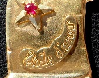 02958487468 Vintage French   Etoile d amour   Charm   Love pendant