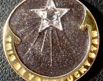 Starry Night ' Lucky Star ' Charm / Love pendant, Signed RIPP, 18k Gold