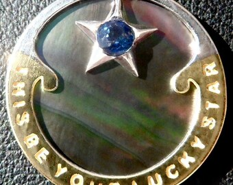 Mother of Pearl ' Lucky Star ' Charm / Luck pendant, Signed RIPP, 18k Gold