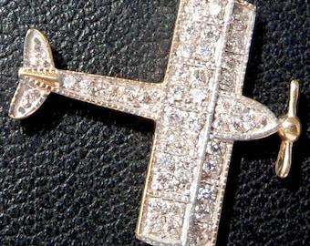 Vintage ' Paradise Plane ' Charm / Pendant, Full Diamonds, 18k Gold