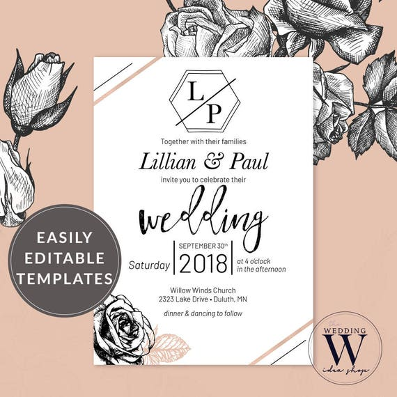 Rosegold Blush Wedding Invitation Template Romantic Wedding Etsy