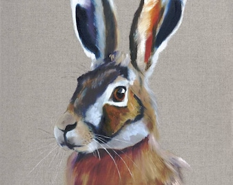 Hare. This is a high quality giclée print of an original oil painting of mine. The print size is 12 x 16 inches.
