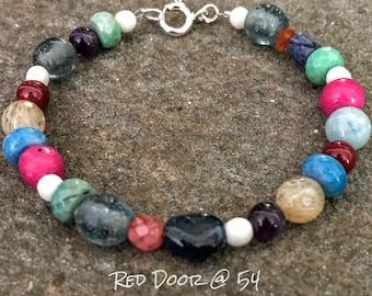 Beaded Bracelet, Boho Bracelet, Gemstone Bracelet, Colorful Bohemian Bracelet, Boho Jewelry, Mothers Day Gift, Bracelets for Women