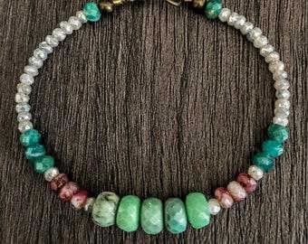 Boho Bracelet, Gemstone Bracelet, Beaded Bracelet, Chrysoprase Bracelet, Bohemian Jewelry, Gypsy Jewelry, Mothers Day Jewelry, For Her