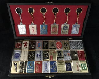 Vintage Advertising Display Box of Matches & Keychains