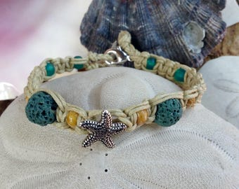 Starfish Beaded Bracelet with Lava Stone Beads for using Essential Oils