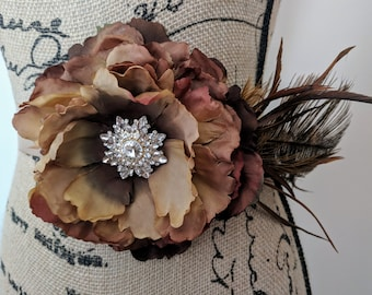 Brown Peony Flower Sash with Feathers