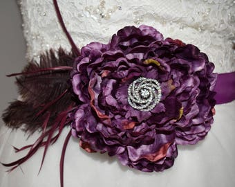 Purple Flower Sash with Feathers