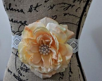 Peach Peony Flower Sash