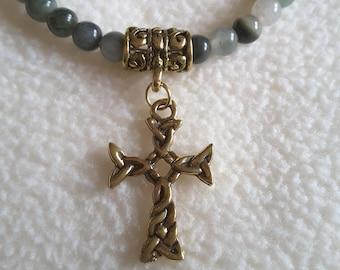 Green Jasper cross necklace